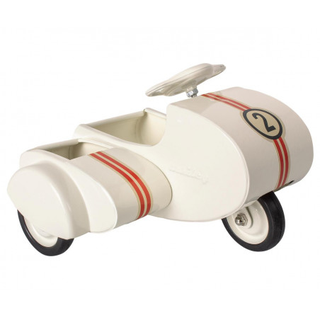 Metal scooter with sidecar, white