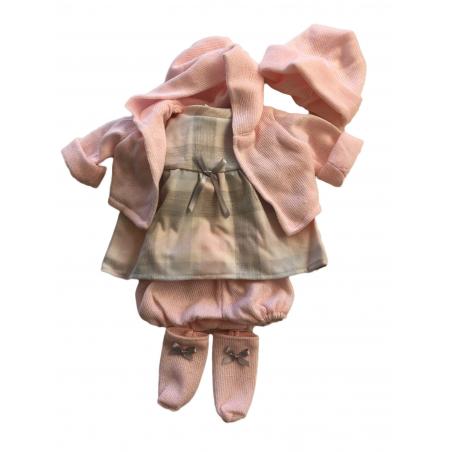 Llorens spansk docka - Kläder - Grå klänning med rosa kofta