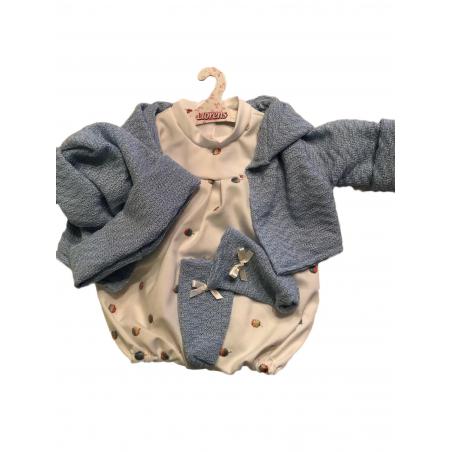 Llorens spansk docka - Kläder - Vit sparkdräkt med blå kofta