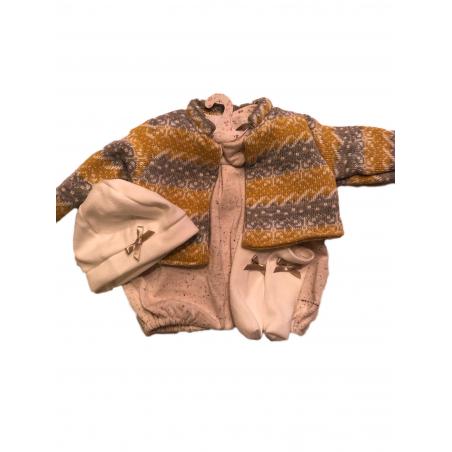 Llorens spansk docka - Kläder - Sparkdräkt med gul kofta