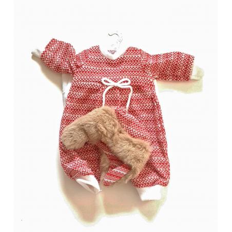 Llorens spansk docka - Kläder - Sparkdräkt med pälsmössa (röd)